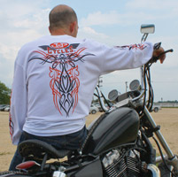 J&P Cycles® Old School White Long-Sleeve Pinstripe T-Shirt