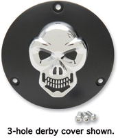 Drag Specialties 3-D Black with Chrome Skull Derby Cover