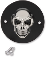 Drag Specialties 3-D Matt Black with Chrome Skull Points Cover