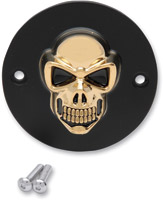 Drag Specialties 3-D Matt Black with Gold Skull Point Cover