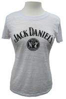 Jack Daniel's Women's White Short-Sleeve No. 7 Burnout T-Shirt