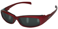 Global Vision Eyewear Bad Attitude CF2 Sunglasses Red Frame/Black Rubber/Smoke Lens