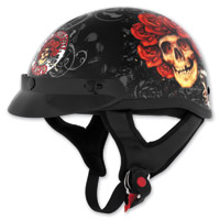 Grateful Dead Color Skull and Roses Half Helmet
