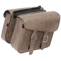 Willie & Max Double Down Brown Compact Slant Saddlebags