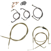 LA Choppers Stainless Braided Handlebar Cable and Brake Line Kit