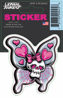Lethal Threat Skull Butterfly Decal