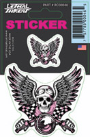 Lethal Threat Vintage Pink Biker Decal