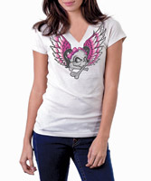 Lethal Threat Lethal Angel White V-neck T-shirt