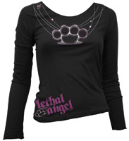 Lethal Threat Women's Knuckle Necklace Long-Sleeve Shirt