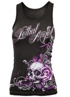 Lethal Threat Ladies Lethal Angel Floral Skull Tank Top