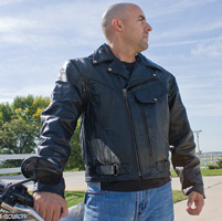Allstate Leather Inc. Men's Vented Leather Motorcycle Jacket