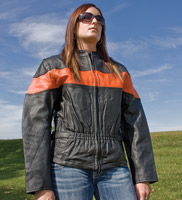 Allstate Leather Inc. Women's Two Toned Black & Orange Leather Jacket
