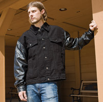 Allstate Leather Inc. Men's Varsity Style Denim/Leather Jacket