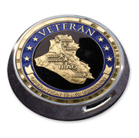 Motordog69 Universal Coin Mount with Iraqi Freedom Veteran Coin