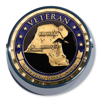 Motordog69 Universal Coin Mount with Desert Storm Veteran Coin
