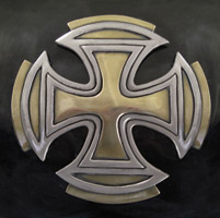 Zambini Bros. Silver and Gold Maltese Cross Tank Emblems
