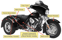 Motorcycle Armor Protection Kit for Street Glide and Ultra Trike