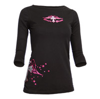 ThrottleThreads Women's Angelic Black 3/4 Sleeve T-Shirt