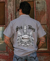 Sick Boy Men's Spark Plug Gray Work Shirt