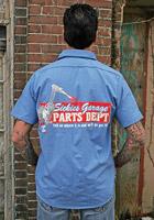 Sick Boy Blue Pinstripe Sickies Garage Parts Dept Work Shirt