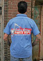 Sick Boy Blue Pinstripe Sickies Garage Parts Dept Work Shirt