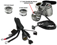 Eklipes Chrome Cobra USB and 12 Volt Socket Charging System