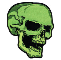 Hot Leathers Green Skull Right Patch