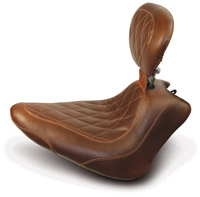 Mustang Brown Wide Tripper Solo Seat with Diamond Stitching and Backrest