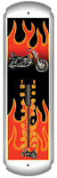Chopper Flames Metal Thermometer