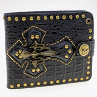 AMiGAZ Black Cross Bi-Fold Leather Wallet