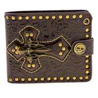 AMiGAZ Brown Cross Bi-Fold Leather Wallet