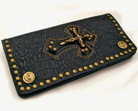 AMiGAZ Black Cross Leather Biker Wallet