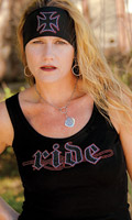DesignWraps Brands Inc Woman's Savvy Threads Ride Black Tank Top