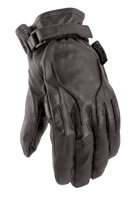 Power Trip Jet Black Leather Gloves