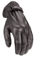 Power Trip Jet Black Perforated Leather Gloves