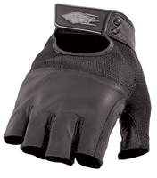 Power Trip Graphite Perforated Leather Fingerless Men's Gloves