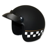 HCI-10 Black Matte Checkerboard Open Face Helmet