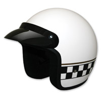 HCI-10 White Matte Checkerboard Open Face Helmet
