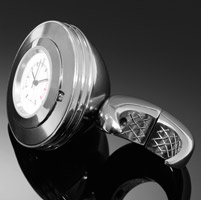 Highway Hawk Angle Chrome Handlebar Watch with White Face