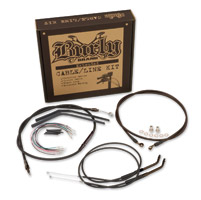 Burly Brand Black 12″ Ape Hanger Cable/Brake/Wiring Kit