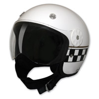 HCI-15 White Checkerboard Open Face Helmet