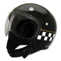 HCI-15 Black Checkerboard Open Face Helmet