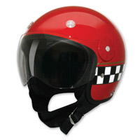 HCI-15 Red Checkerboard Open Face Helmet