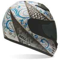 Bell Zipped White Blue Arrow Full Face Helmet