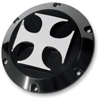 NYC Choppers Black with Chrome Maltese Cross Derby Cover