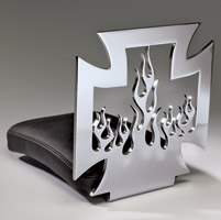 Resurrection Chopper Gear Mid Back Maltese Cross Inner Flame Backrest with Passenger Seat
