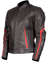 AGV Sport Women's Topaz Black/Red Leather Jacket