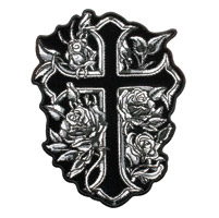 Hot Leathers Cross & Roses Embroidered Patch