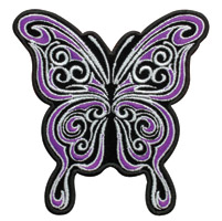 Hot Leathers Curly Butterfly Embroidered Patch