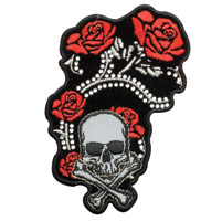 Hot Leathers Red Foil Roses Embroidered Patch w/Studs